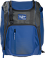 Front of a royal Franchise baseball backpack with gray accents and a royal Rawlings patch - SKU: FRANBP-R image number null