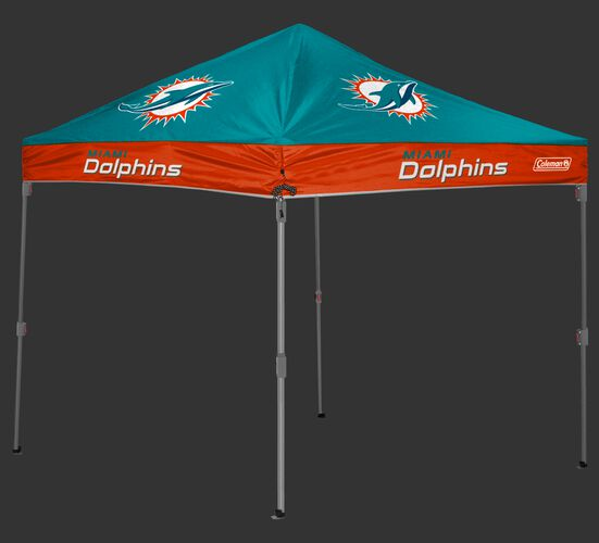 Rawlings Aqua Green and Orange NFL Miami Dolphins 10x10 Canopy Shelter With Team Logo and Name SKU #03221074111