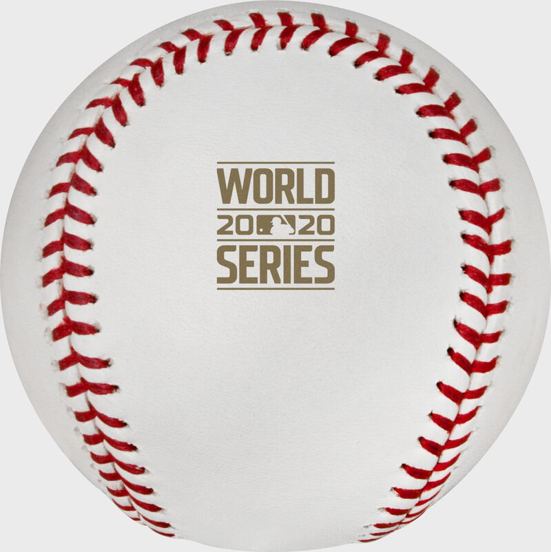 The 2020 World Series logo stamped in gold on the World Series champions baseball - SKU: EA-WSBB20CHMP-R