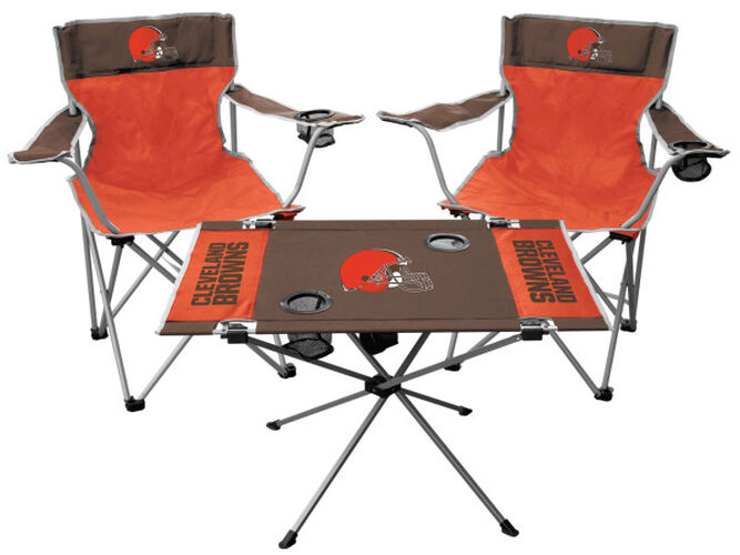 Front of Rawlings Orange and Brown NFL Cleveland Browns 3-Piece Tailgate Kit With Two Kickoff Chairs, An Endzone Table, And A Transport Bag With Team Logo SKU #01041064511