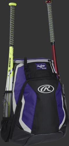 Right side of a black/purple R500 Rawlings baseball backpack with a white bat in the bat sleeve