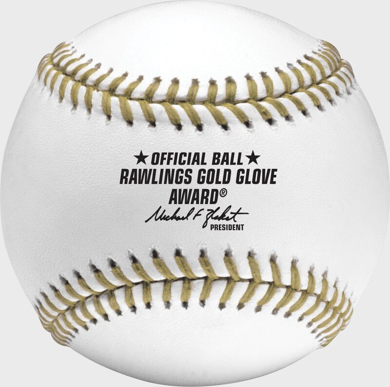 The Offical Ball logo stamped in black on the RGGBB Rawlings Gold Glove baseball
