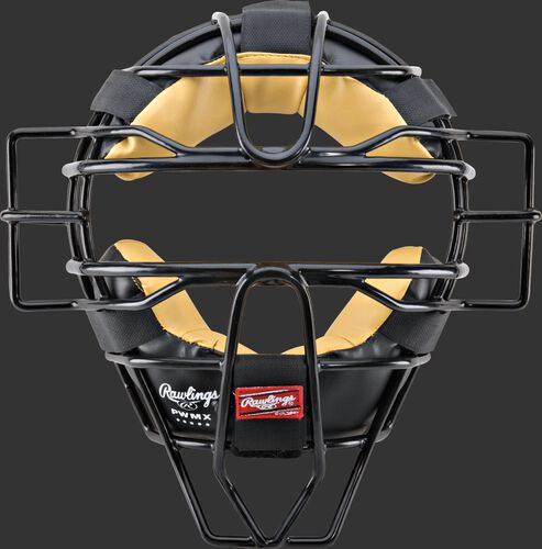 A black PWMX-B umpire adult facemask with black/tan padding
