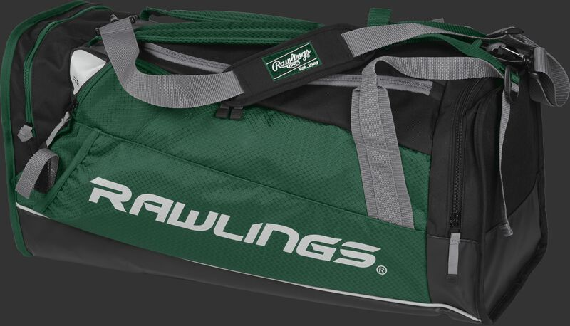 Side angle view of a dark green R601 Rawlings Hybrid duffel backpack