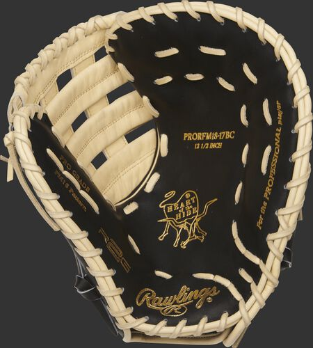 PRORFM18-17BC Heart of the Hide R2G first base glove with a black palm and camel laces