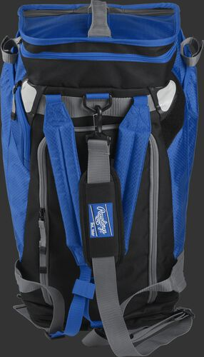 Front of a royal R601 Rawlings Hybrid backpack/duffel bag with a gray strap and royal arm straps