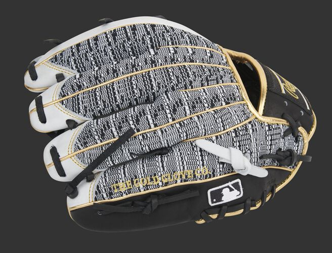 Pinkie side of a Rawlings HOH infield glove with a zebra knit back and MLB logo on the pinkie - SKU: PRO204-2WBZ