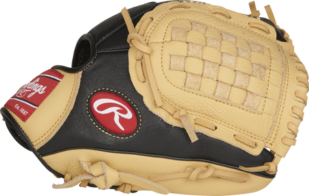 P110CBB 11-Inch Prodigy infield glove with a black/camel thumb and camel Basket web