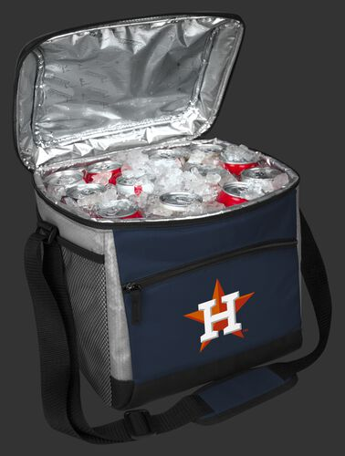 An open Houston Astros 24 can cooler filled with ice and drinks - SKU: 10200002111