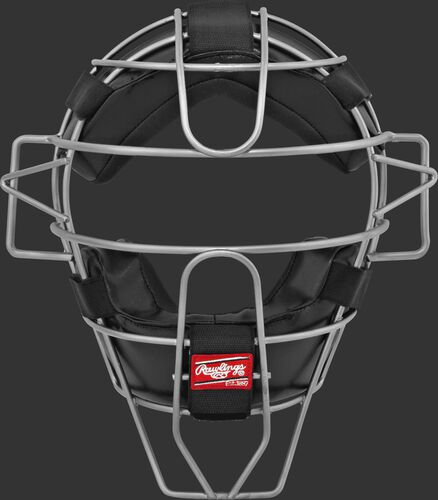 A LWMX2 adult lightweight hollow wire catcher/umpire mask with black padding and silver cage