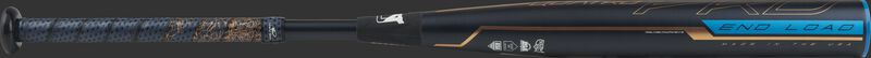 FPPE10 end-loaded Quatro Pro fastpitch bat qith a black barrel and navy/rose gold Lizard Skins grip