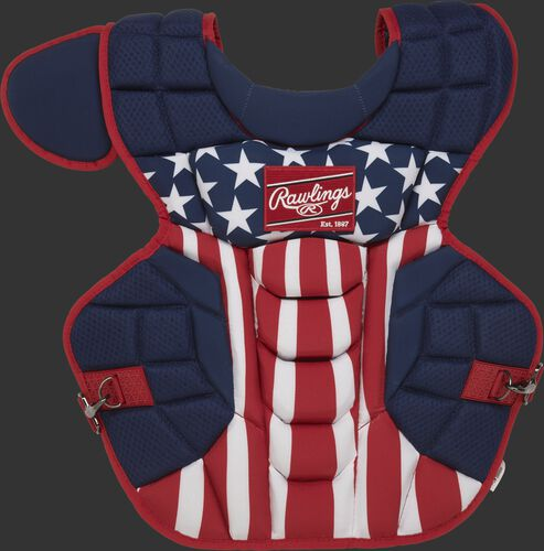 CPV2N stars & stripes theme Rawlings Velo 2.0 chest protector with Arc Reactor Core