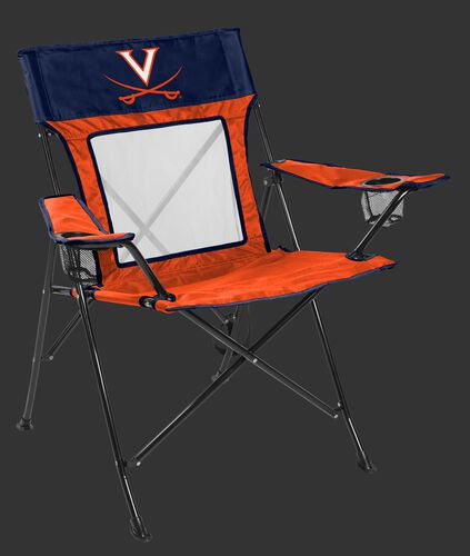 Front of Rawlings Navy and Orange NCAA Virginia Cavaliers Game Changer Chair With Team Logo SKU #00643107111