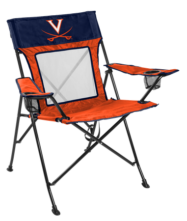 A navy/orange NCAA Virginia Cavaliers Game Changer chair with a team logo on the back