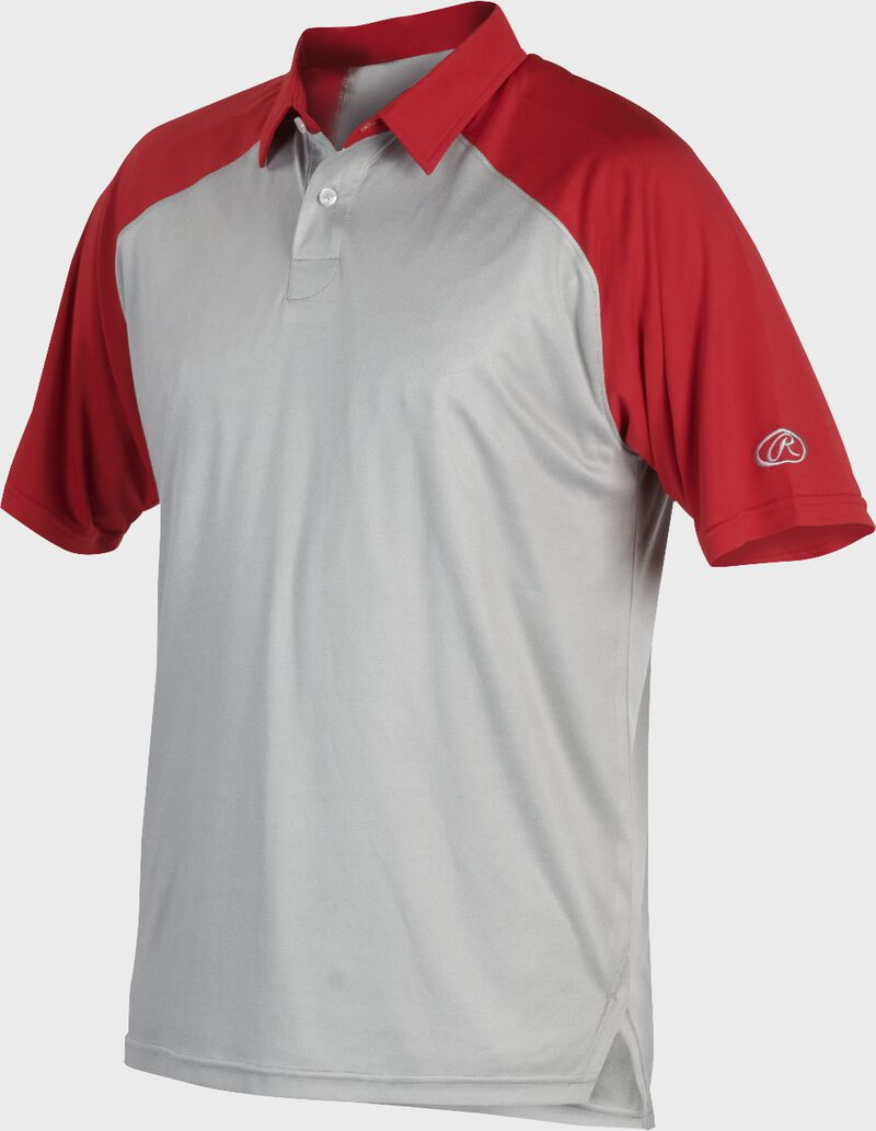 A gray Rawlings colorsync polo with scarlet sleeves - SKU: CSP-BG/S