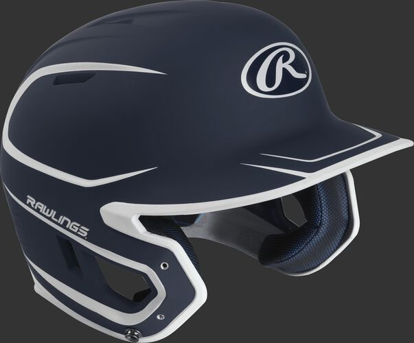 Right angle view of a matte MACH Senior batting helmet with a navy/white shell