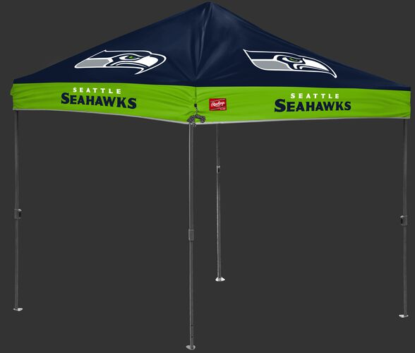 A navy/green NFL Seattle Seahawks 10x10 canopy with team logos on each side - SKU: 02231085111