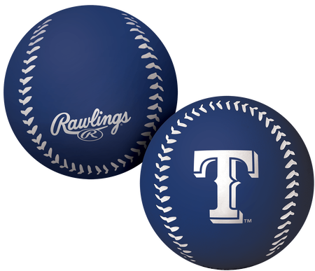 A blue Texas Rangers Big Fly rubber bounce ball
