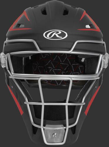 Front of a black/scarlet CHV27J Velo 2.0 hockey-style catcher's helmet