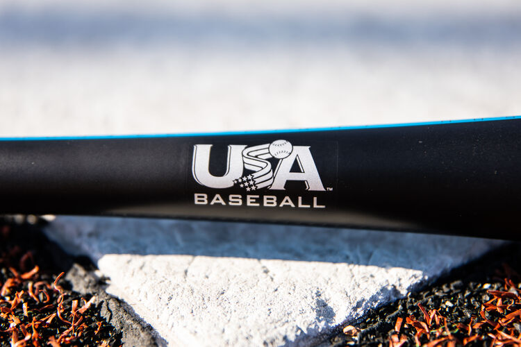 USA Baseball logo stamped on the handle of a Rawlings 5150 bat on top of home plate - SKU: US15