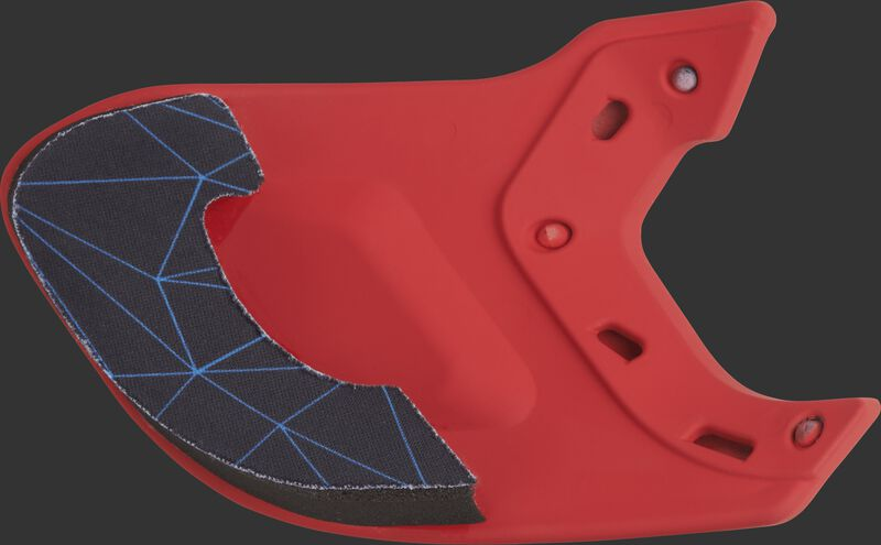 Padding on the inside of a scarlet MEXTR Mach batting helmet extension