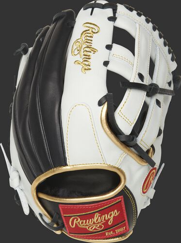 EC1225W-6BW 12.25-inch Encore outfield glove with a white/black back and adjustable pull lace back