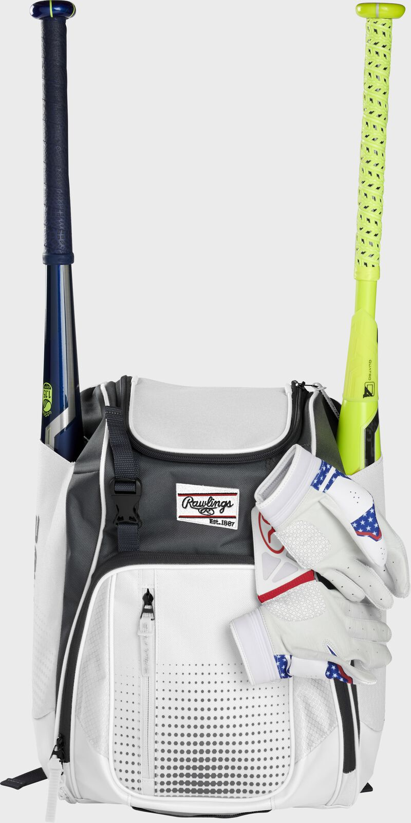 A white Franchise backpack with two bats in the sides and batting gloves on the front Velcro strap - SKU: FRANBP-W