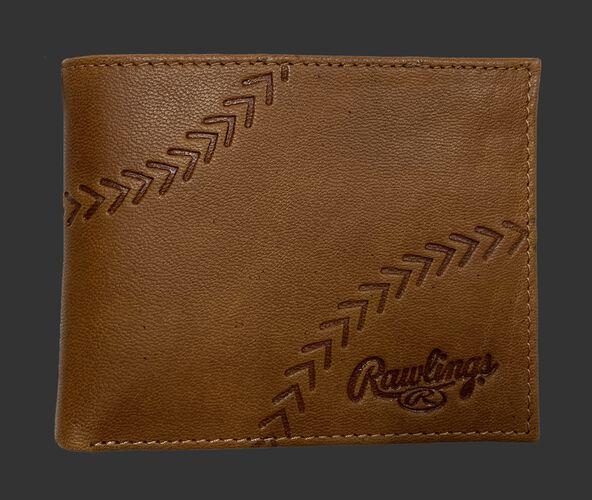 A tan debossed stitch bi-fold wallet with a Rawlings logo in the bottom right corner - SKU: RPW007-204