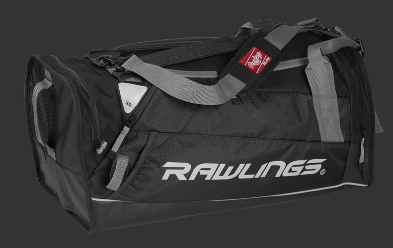 Side angle view of a scarlet R601 Hybrid players bag with a Rawlings logo on the side