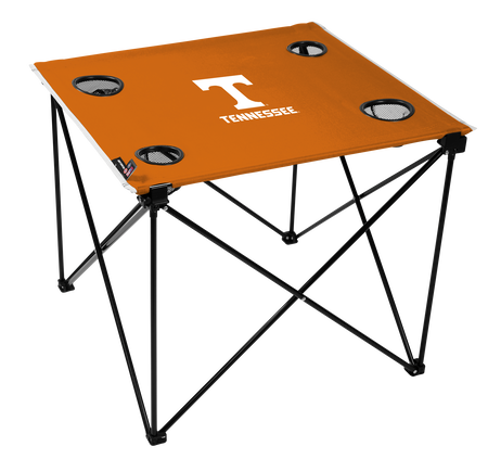 A orange NCAA Tennessee Volunteers deluxe tailgate table with four cup holders and team logo printed in the middle