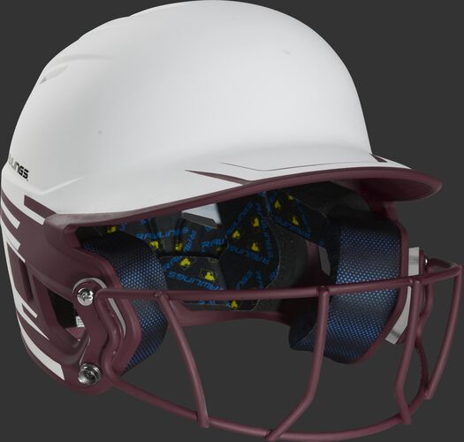 Front right of a Rawlings Mach fastpitch batting helmet with a maroon mask - SKU: MSB13S-W/MA