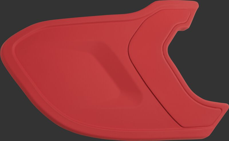 A matte scarlet MEXTR Mach EXT batting helmet extension for right-handed batters