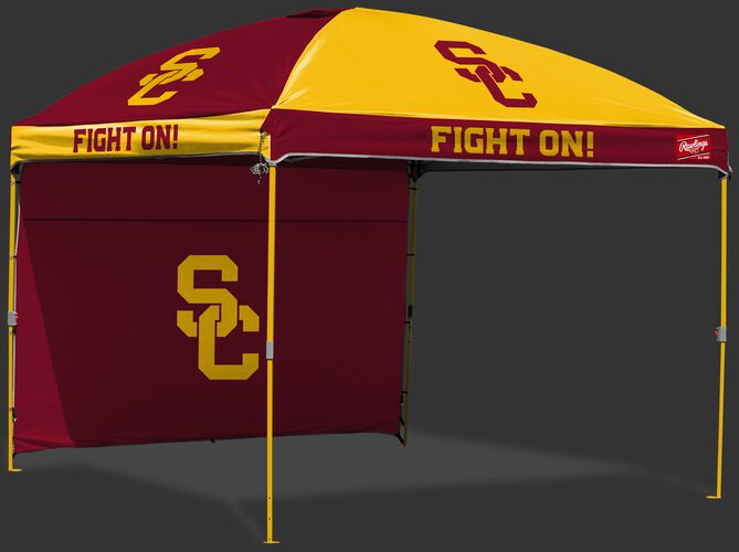 A team color USC Trojans 10x10 deluxe dome canopy with a matching team color back wall - SKU: 09463100519