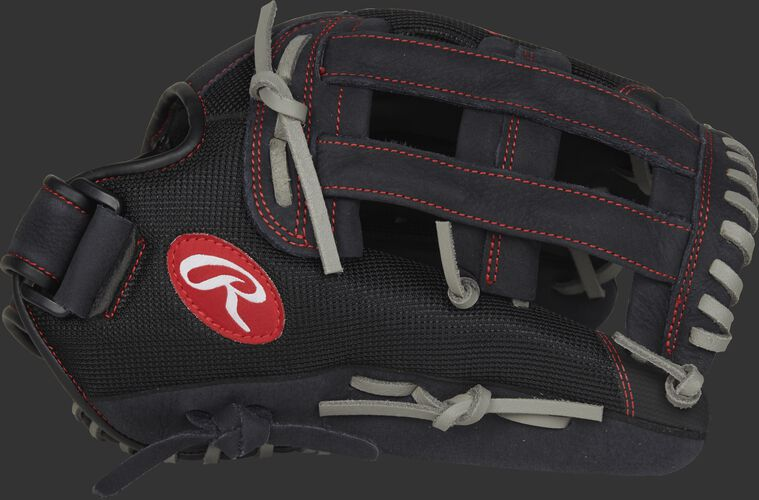Thumb view of a black R130BGSH Renegade 13-inch softball glove with a black H web