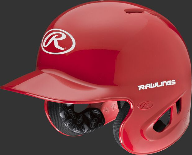 A scarlet S90PA RPR high schoole/college batting helmet with a white Oval R logo on the front