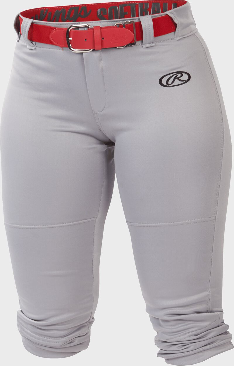 WLNCH Blue Gray Women's launch softball pants with a scarlet belt
