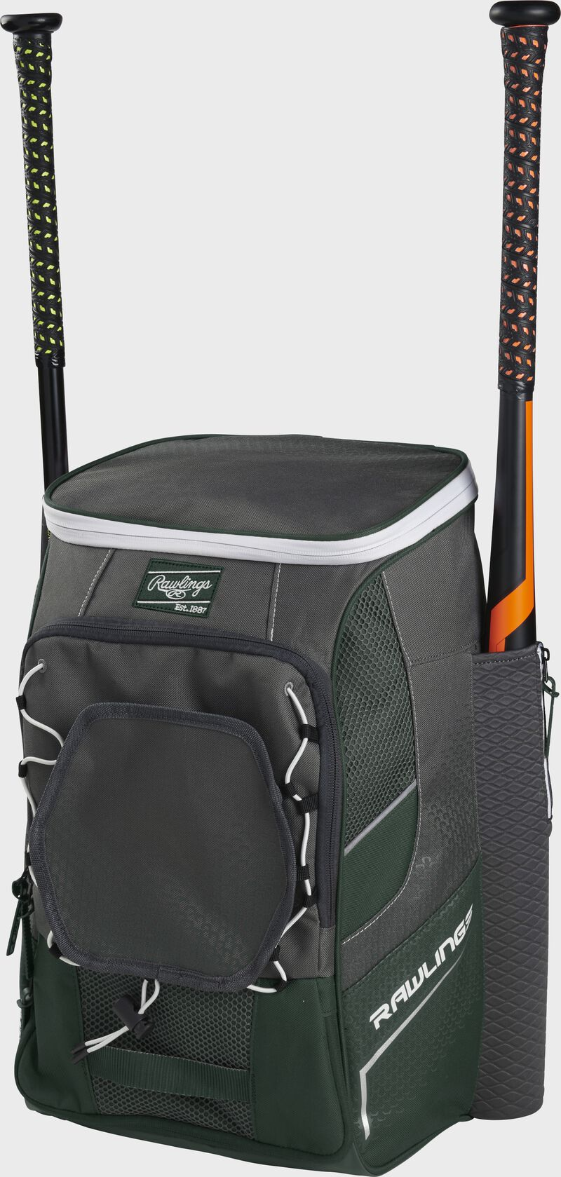Front right angle view of a dark green Impulse backpack with two bats in the side sleeves - SKU: IMPLSE-DG