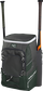 Front right angle view of a dark green Impulse backpack with two bats in the side sleeves - SKU: IMPLSE-DG image number null