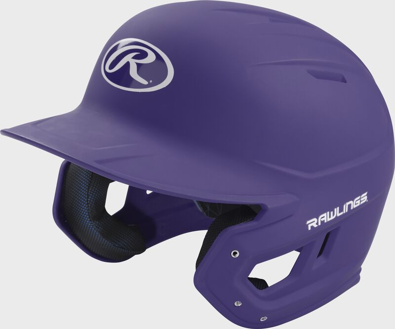 Left angle view of a Rawlings MACH helmet with a one-tone matte purple shell