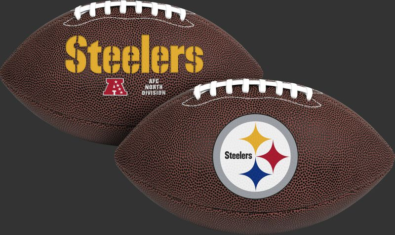 NFL Pittsburgh Steelers Air-It-Out youth football with team name and logo SKU #08041082121