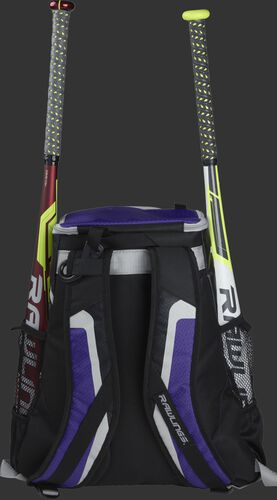 Back of a black/purple R500 team backpack with two bats in the side sleeves