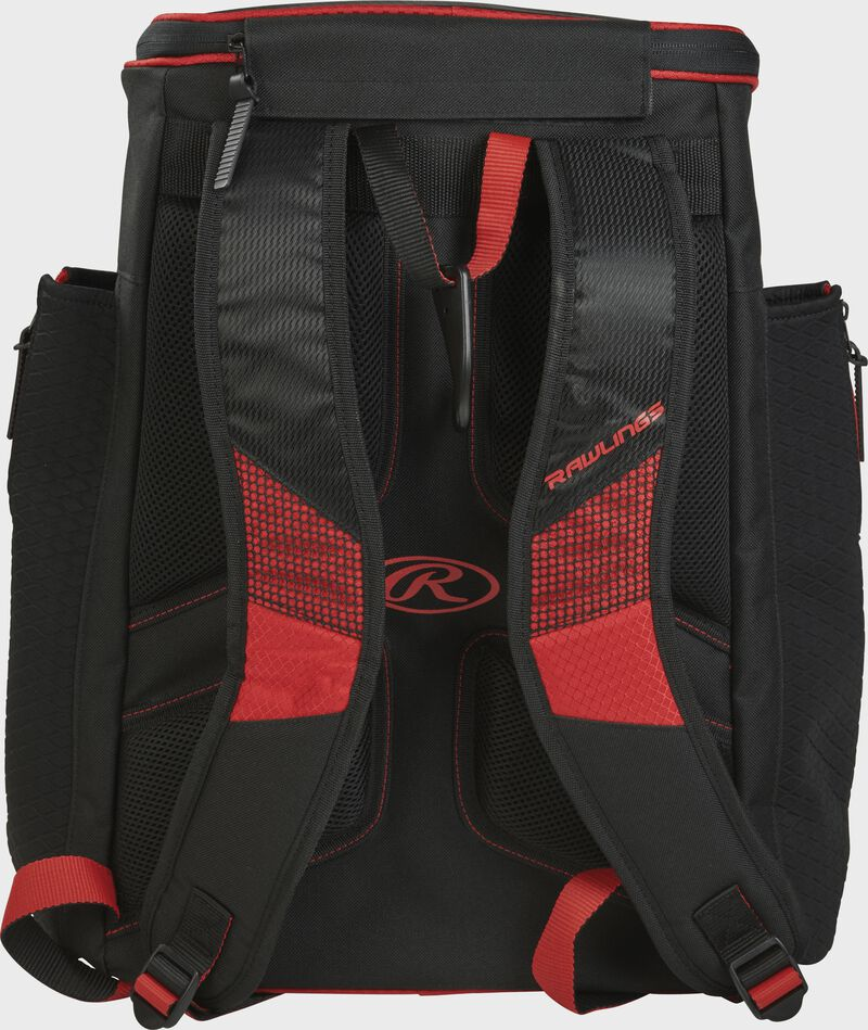 Back of a scarlet/black R600 Rawlings Players backpack with black shoulder straps