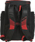 Back of a scarlet/black R600 Rawlings Players backpack with black shoulder straps image number null