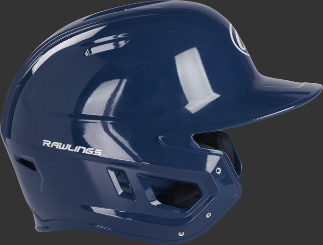 Right side of a MCC01A Rawlings Mach gloss helmet with a navy shell and compatible with a MEXT face guard extension