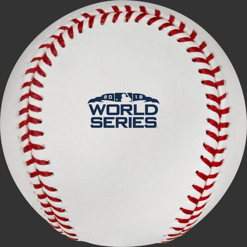 The 2018 MLB World Series logo stamped on the WSBB18 baseball