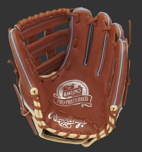 Bruciato palm of a Pro Preferred H-web infield glove with gold stamping and tan laces - SKU: PROS205W-6BRC