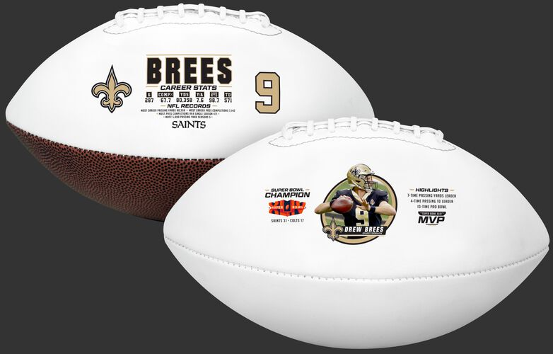 Two views of a Drew Brees retirement full size football showing his career stats and accomplishments - SKU: 35341178111