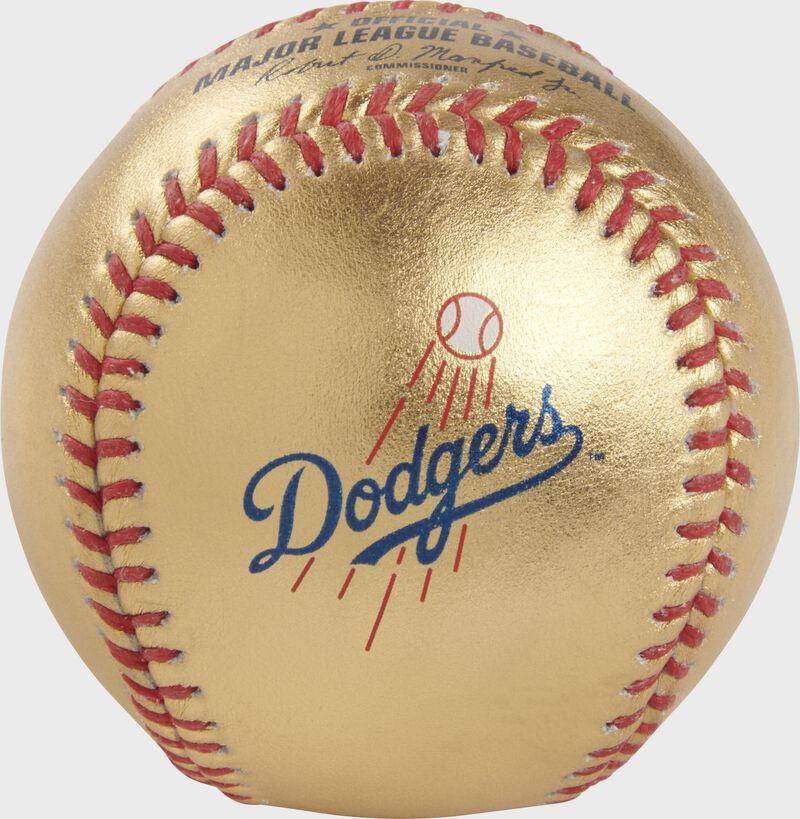 Dodgers logo on a gold MLB baseball with red stitches - SKU: RSGEA-GOLDLAD-R