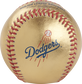 Dodgers logo on a gold MLB baseball with red stitches - SKU: RSGEA-GOLDLAD-R image number null