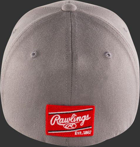 Back View Of Rawlings Black Clover Authentic Fitted Hat - Gray With Red Emblem - SKU #BC0A000071
